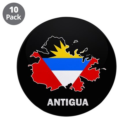 "Flag Map of Antigua 3.5"" Button (10 pack)"