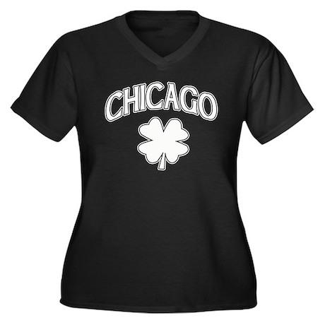 Chicago Irish Shamrock Women's Plus Size V-Neck Da