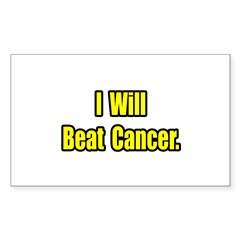 """I Will Beat Cancer"" Rectangle Sticker"