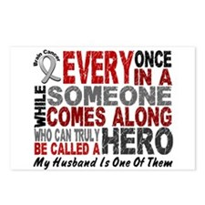 HERO Comes Along 1 Husband BRAIN CANCER Postcards