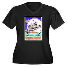 Cute Pig wall Women's Plus Size V-Neck Dark T-Shirt