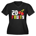 2D Fruity Women's Plus Size V-Neck Dark T-Shirt