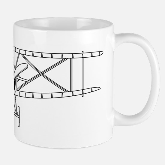 Biplane Isolated Outline Mugs