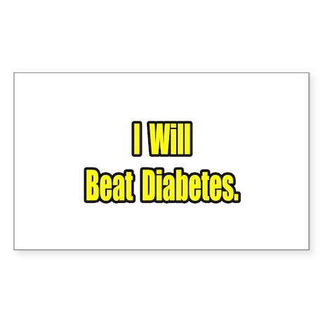 """I Will Beat Diabetes"" Rectangle Sticker 50 pk)"