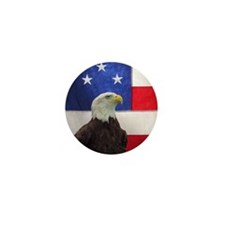 Bald Eagle and American Flag Mini Button (10 pack)