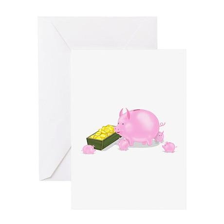 Piggy Bank Family Dinner Greeting Card