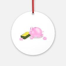 Piggy Bank Family Dinner Ornament (Round)