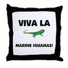 Viva La Marine Iguanas Throw Pillow