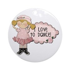Blond Girl Dancer Ornament (Round)