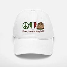 Peace, Love & Spaghetti Baseball Baseball Cap