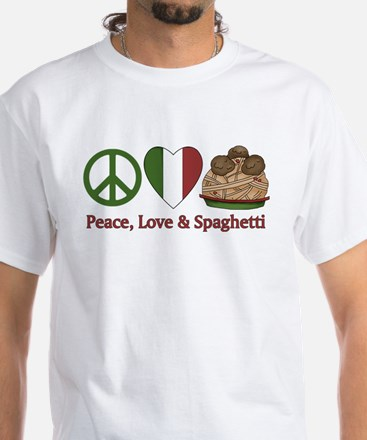 Peace, Love & Spaghetti White T-Shirt