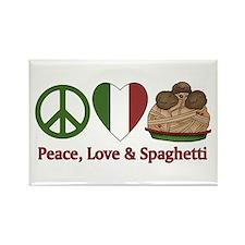 Peace, Love & Spaghetti Rectangle Magnet