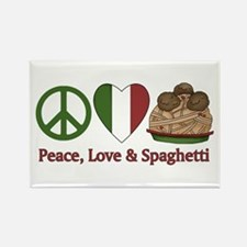 Peace, Love & Spaghetti Rectangle Magnet