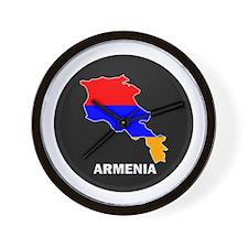 Flag Map of Armenia Wall Clock