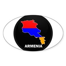 Flag Map of Armenia Oval Decal