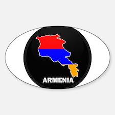 Flag Map of Armenia Oval Decal