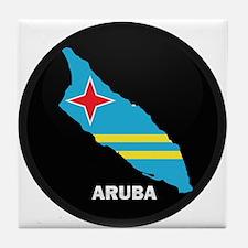 Flag Map of Aruba Tile Coaster