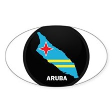 Flag Map of Aruba Oval Decal