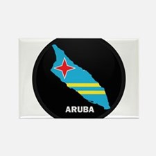 Flag Map of Aruba Rectangle Magnet