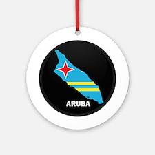 Flag Map of Aruba Ornament (Round)