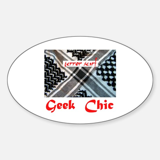 geek chic terror Oval Decal