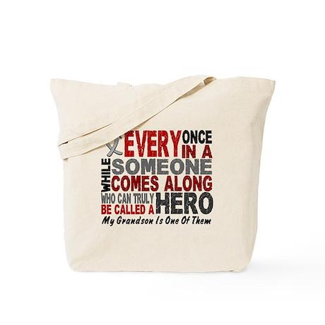 HERO Comes Along 1 Grandson BRAIN CANCER Tote Bag