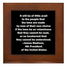 Quote of James Madison Framed Tile
