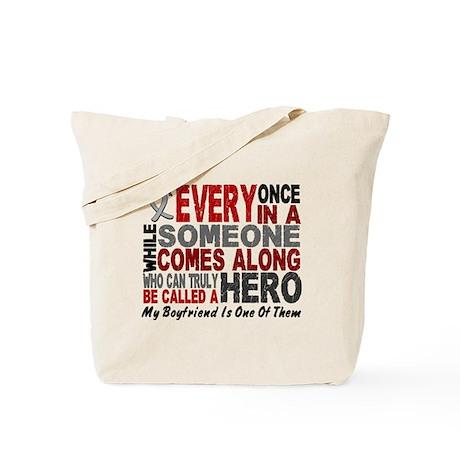HERO Comes Along 1 Boyfriend BRAIN CANCER Tote Bag