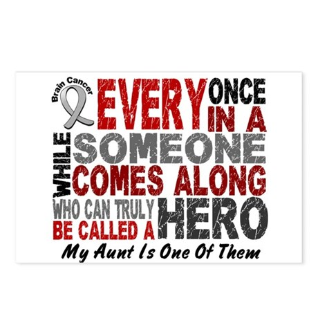 HERO Comes Along 1 Aunt BRAIN CANCER Postcards (Pa
