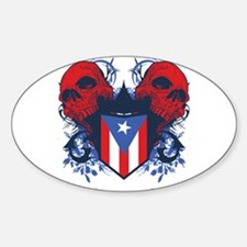 Puerto Rico Skulls Oval Decal