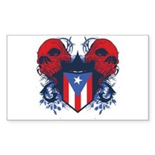 Puerto Rico Skulls Rectangle Decal