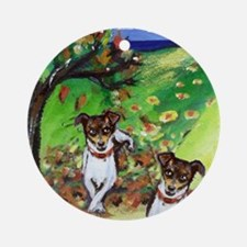Rat Terrier whimsical Fall Au Ornament (Round)