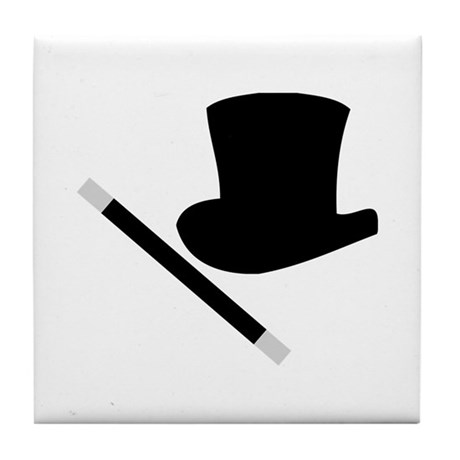 Magic Top Hat and Wand Tile Coaster