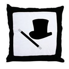 Magic Top Hat and Wand Throw Pillow