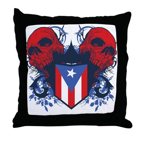 Puerto Rico Skulls Throw Pillow