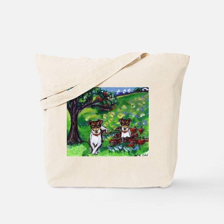 Rat Terrier Summer dog art wh Tote Bag