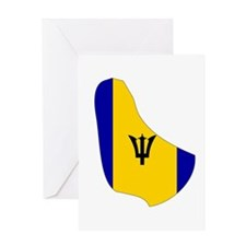 Barbados Flag Map Greeting Card