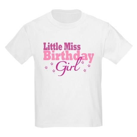 Little Miss Birthday Girl Kids Light T-Shirt