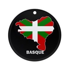 Flag Map of Basque Ornament (Round)
