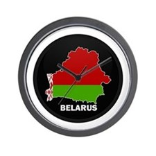 Flag Map of Belarus Wall Clock