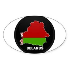 Flag Map of Belarus Oval Decal