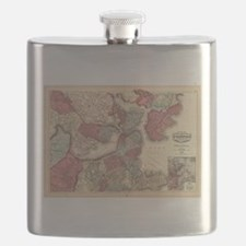 Vintage Map of Boston Massachusetts (1871) Flask
