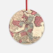 Vintage Map of Boston Massachusetts Round Ornament