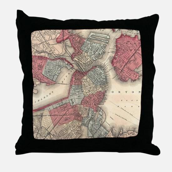 Vintage Map of Boston Massachusetts ( Throw Pillow