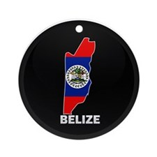 Flag Map of Belize Ornament (Round)