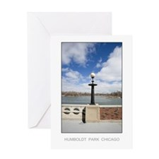 Park Lamp and Lake Greeting Card