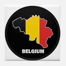 Flag Map of Belgium Tile Coaster