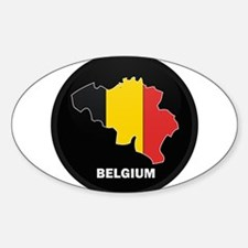 Flag Map of Belgium Oval Decal