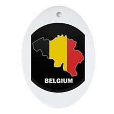 Flag Map of Belgium Oval Ornament