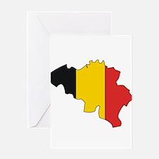 Belgium Flag Map Greeting Card